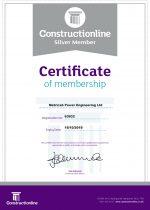 Constructionline Certificate Exp. Oct 2019