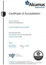 SafeContractor Certificate Valid to 22.01.2020.