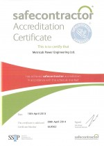 SafeContractor Certificate Valid to 09.04.2013