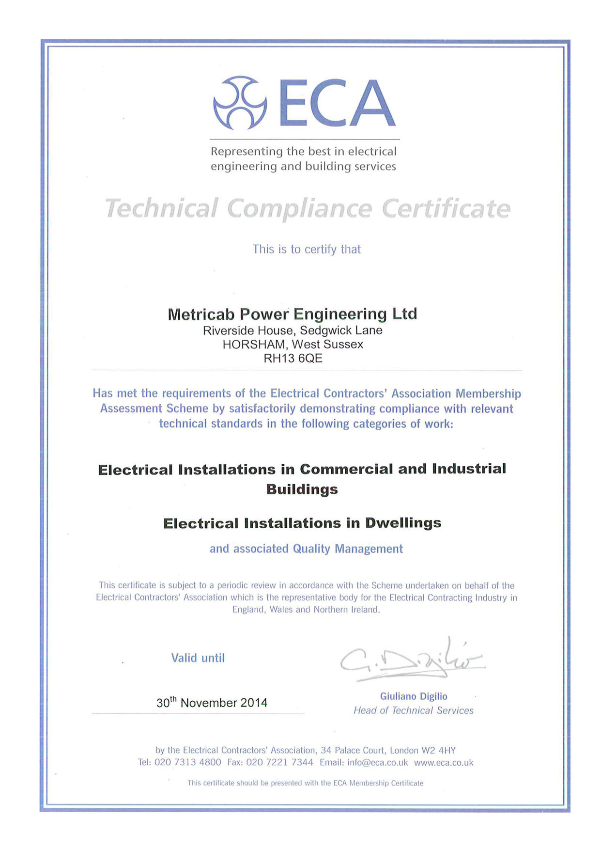 Accreditations trade memberships eca technical certificate 30112014 1betcityfo Images